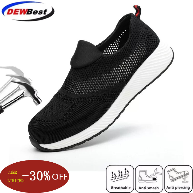 Woman Summer Indestructible Safety Shoes Men's Lightweight Shoes Man With Steel Toe Shoes For Work Breathable Women Sneaker Man