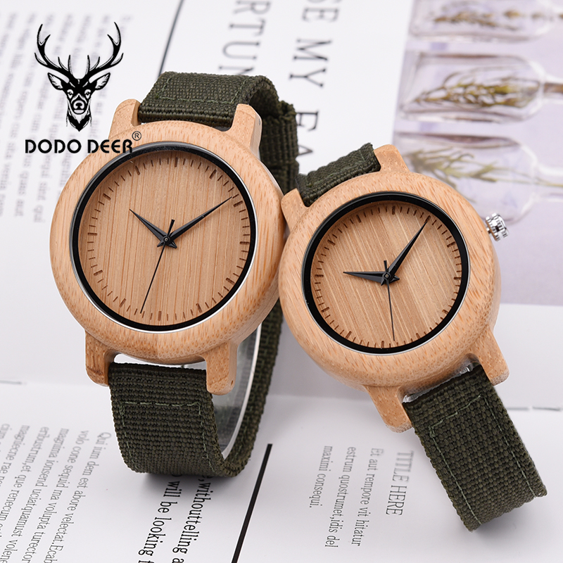DODO DEER Bamboo Wooden Quartz Wrist Watch for Love Nylon Strap Couple Wooden Customize Watches for Men and Women OEM B05Lovers Watches   -