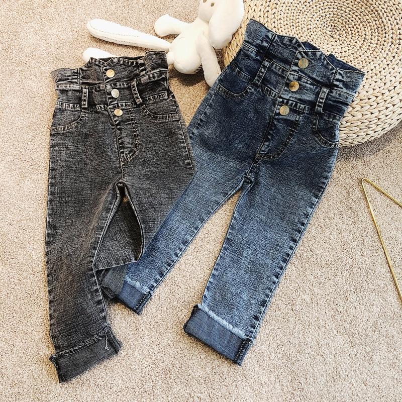 Spring Summer girls jeans baby trousers kids denim pants children bottoms streetwear dirty wash high waist snap 3 to 9 yrs