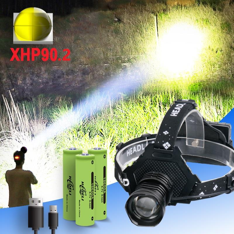 Most Powerful XHP90.2 Led Headlamp 300000LM Head Lamp USB Rechargeable Headlight Waterproof Zoom Fishing Light Use 18650 Battery