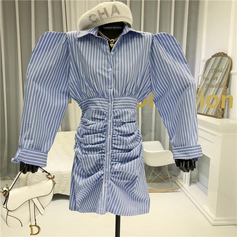 Полосатое платье карандаш выше колена, мини платье с пышными рукавами и отложным воротником, женское платье на каждый день, Синяя Женская од