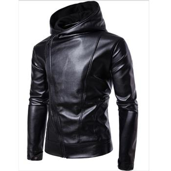 Black Hoodied Leather Jacket Men Spring Autumn Casual Clothes Fashion Oblique Zipper Hoodies Leather Jackets And Coats For Man