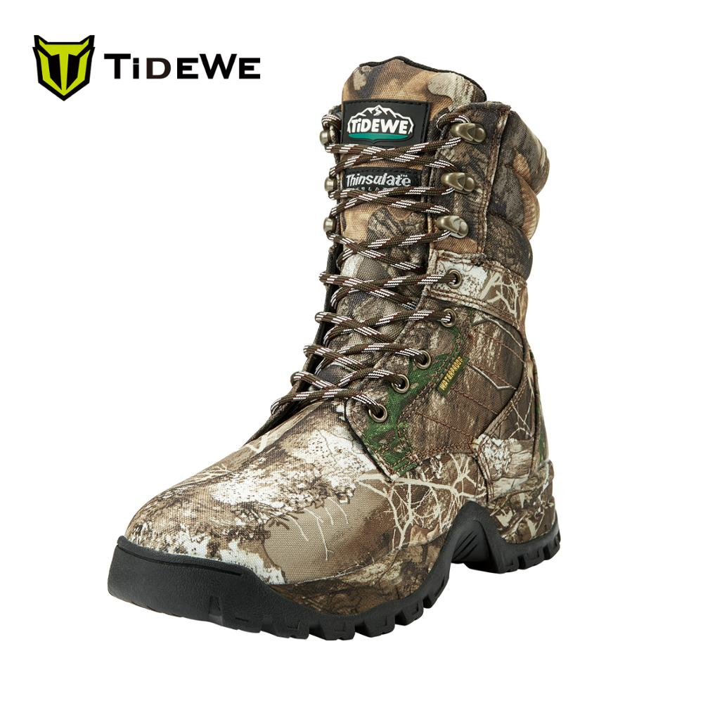 TideWe 20cm High Hunting Boots For Men Realtree Camo Edge Insulated 400G Breathable Mid-Rise Outdoor Hiking Boots