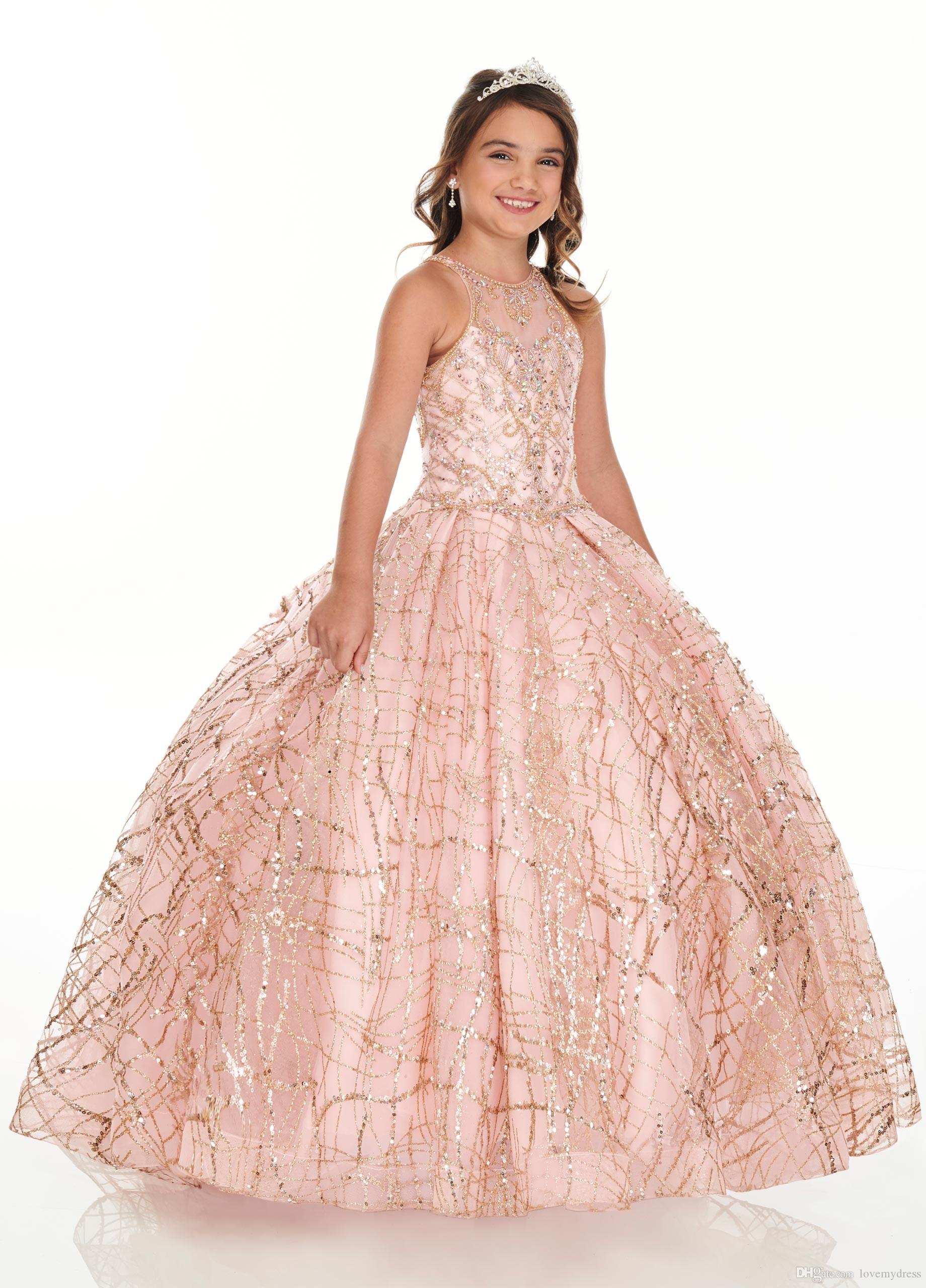 2020 Bling Rose Gold Mini Quinceanera Pageant Dresses For Little Girls Glitter Tulle Jewel Rhinestones Beaded Party Dress Toddle Dresses Aliexpress