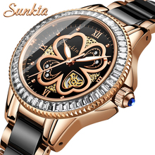 Montre Femme SUNKTA New Rose Gold Watch Women Quartz Watches Ladies Top Brand Luxury Female Wrist Watch Girl Clock Wife gift sekaro women luxury top brand watch ladys lucky flower fashion wrist watch women s wristwatch montre femme quartz watch for gift