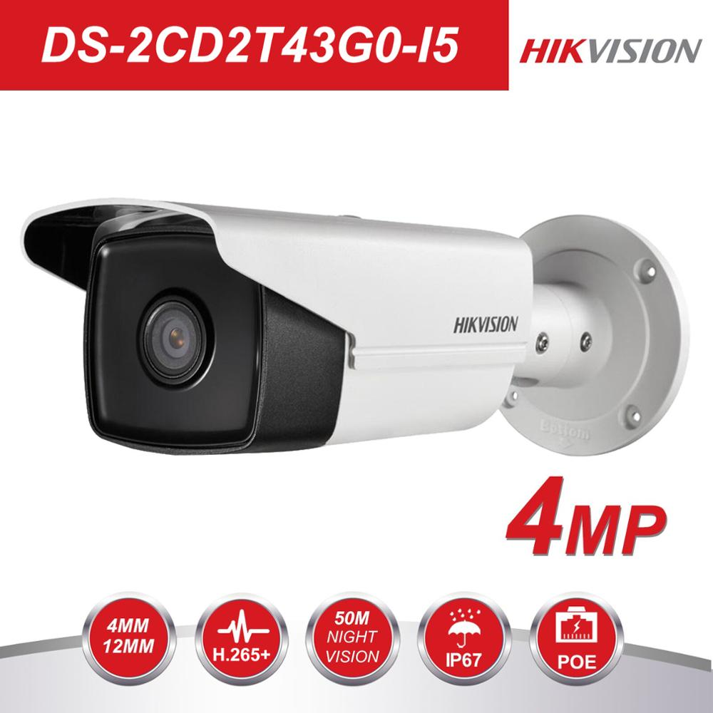 HIK New Video Surveillance Camera outdoor DS 2CD2T43G0 I5 4MP IR 50M Bullet POE IP Camera H.265+ Replace DS 2CD2T42WD I5-in Surveillance Cameras from Security & Protection    1