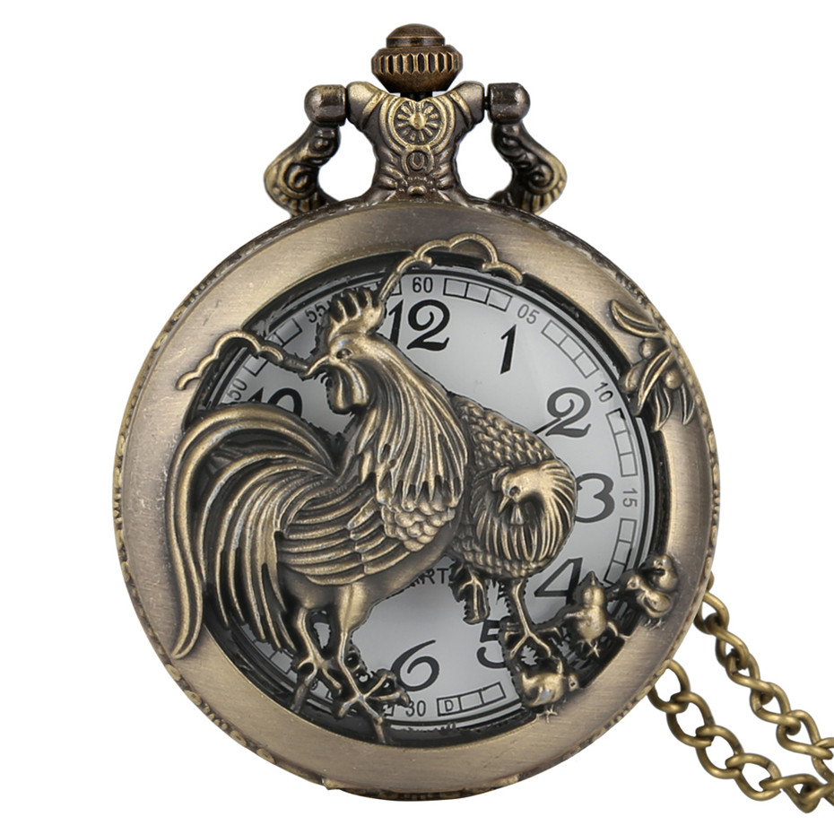 Hollow Bronze The Chinese Zodiac Rooster Design Quartz Pocket Watch Vintage Fashion Pendant Clock With Necklace