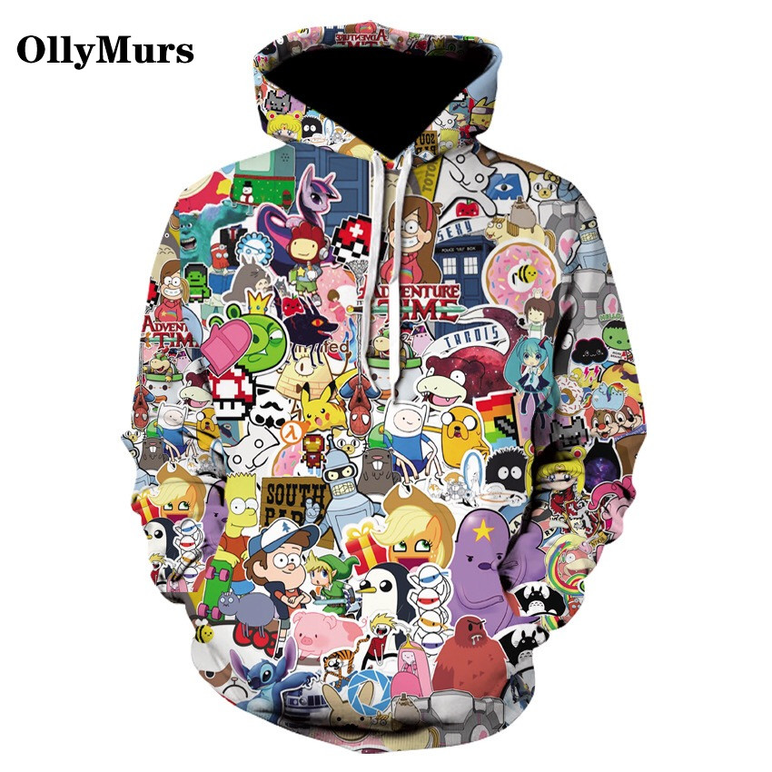 2020 Latest 3D Printed Cartoon Pattern Thin Hoodie Funny Anime Pullover Cute Campus Couple Hoodie Various Cute Styles Sweatshirt