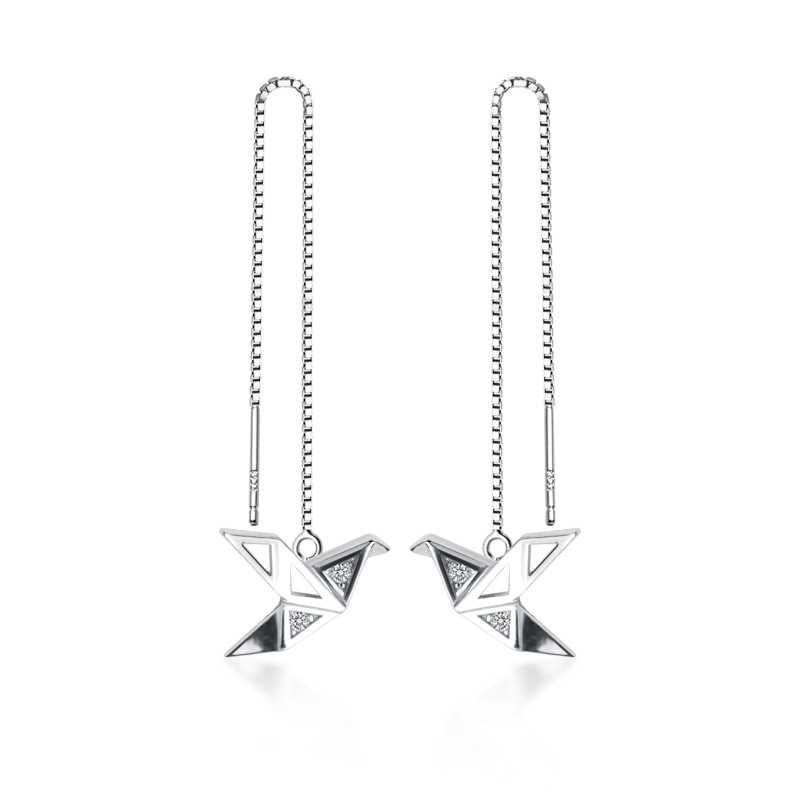 MloveAcc 925 Sterling Silver Fine Jewelry Origami Paper Crane Dangle Earrings Line for Women Girls Fashion Jewelry Gift