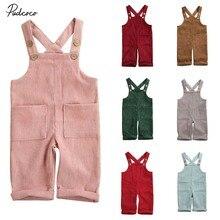 Летняя одежда для малышей, вельветовый комбинезон для маленьких мальчиков и девочек, твердые наряды, модная одежда с карманами, От 6 месяцев до 5 лет