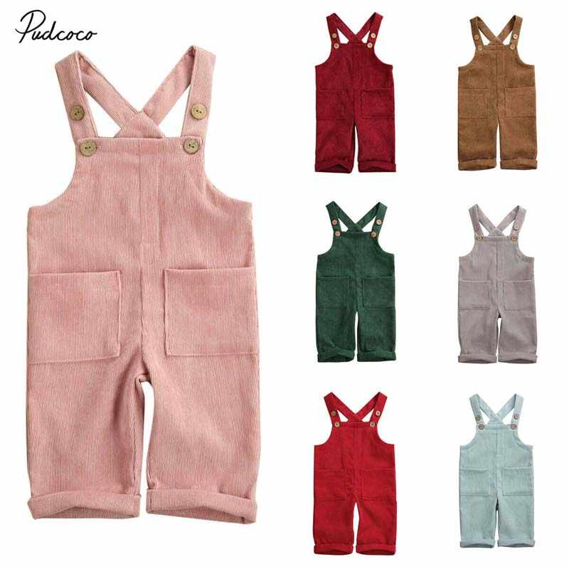 2020 Baby Summer Clothing Toddler Baby Boy Girl Corduroy Romper Jumpsuit Solid Outfits Pocket Fashion Clothes 6M-5T