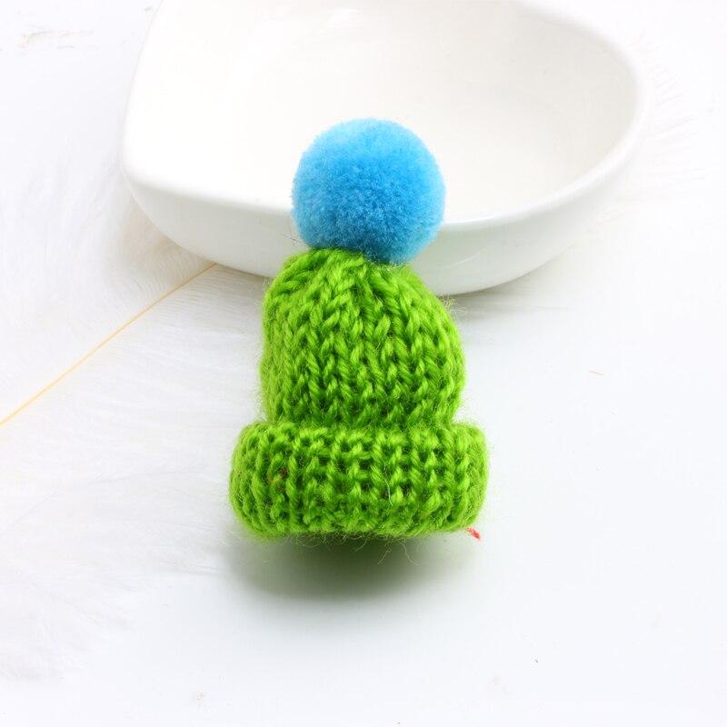 Нагрудные булавки брошь для женщин Милая Мини вязанная Hairball брошь «шляпа» булавка для свитера куртки значок ювелирные изделия шерстяной шар DIY подарок для женщин и девочек - Окраска металла: blue-green