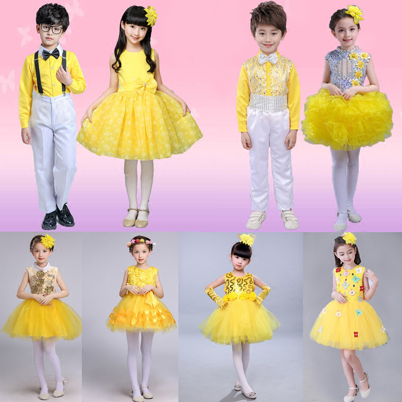 Ballet Costume Chorus Wear Sarong Dress Girl Princess Puff skirt Boy Yellow Performance