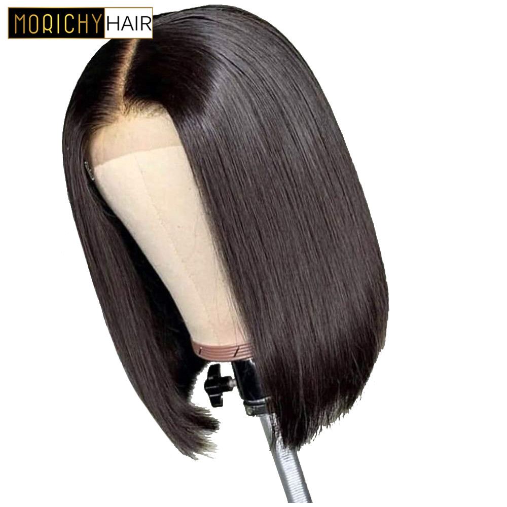 Brazilian Lace Wig 4x4 Straight Lace Closure Wig Human Hair Bob Wigs Pre-Plucked With Baby Hair 150 Density Natural Non-Remy Wig
