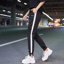 Sweat Pants Women Casual Trousers Elastic High Waist Sweatpants Ladies Classic Side Striped Pockets Jogger Womens Loose Autumn(China)