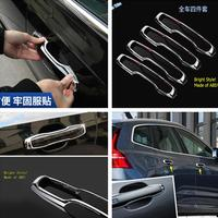 Lapetus Auto Styling Outside Door Pull Handle Protection Kit Cover Trim Fit For VOLVO XC60 2018 2019 2020  / Chrome Look