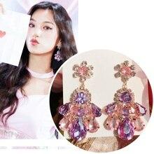 MENGJIQIAO Fashion Korean TV Star Purple Waterdrop Crystal Dangle Earrings For Women Students Elegant Oorbellen Party Jewelry