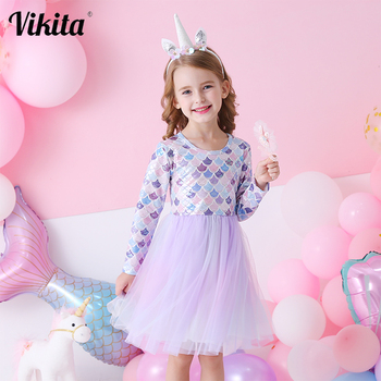 VIKITA New Girls Princess Dress Girls Mesh Vestidos Kids Party Casual Tutu Dress Children Long Sleeve Autumn Winter Dresses vikita girls unicorn dress princess tutu dress for girls children birthday party licorne vestidos kids autumn winter dresses