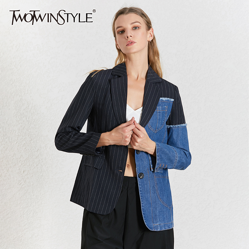TWOTWINSTYLE Striped Patchwork Denim Female Blazer Notched Collar Long Sleeve Blazers For Women 2020 Summer Fashion Clothing
