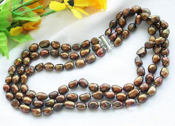 Unique Pearls jewellery Store 3row 10mm BrownBaroque Freshwater Cultured Pearl Necklace Charming Women Jewelry Gift