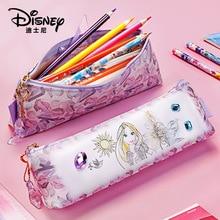 Disney Stationery Bag Pu Leather Wrinkle-resistant Waterproof Pencil Bag Creative Cartoon Zipper Pencil Case Student Supplies