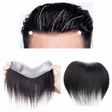 Halo Lady Beauty Men Topper 100% Human Hair Piece V Loop Front Hairline Toupee for Men Wigs Non-Remy Hair Replacement Frontal