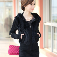 Autumn Winter Faux Rabbit Fur Jacket Women Hooded knitted Short Coat Fashion Long Sleeve Sweater Plus Size Female Clothing A524