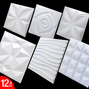 12 pieces 30x30cm 3D tile panel mold plaster wall bathroom kitchen 3D wall stickers living room wallpaper bedroom 3D decoration