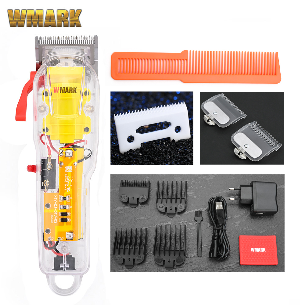 2020 WMARK New Model NG-108 Rechargeable Hair Cutting Machine Hair Clippers Trimmer Transparent Cover White Or Red Base 7300rpm