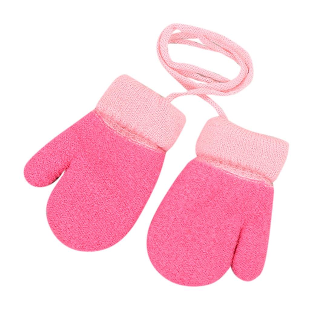 Дети Мальчики Девочки Зима милый твердый, подвесной шею теплые вязаные перчатки дети милые перчатки теплые полный палец перчатки зима - Цвет: Арбузно-красный