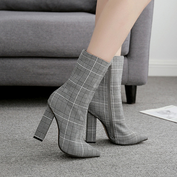 NIUFUNI Stripes Sexy Slim Ankle Boots For Women Shoes Pointed Toe High Heels Botas Mujer Femme Zipper Chelsea Boots Size 35-42 5