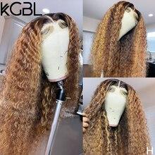 Pelucas de cabello humano con rizos KGBL para mujer, postizo frontal de encaje 13x4 de 8 a 24 pulgadas, densidad del 150% pre-arrancada, no Remy, proporción media brasileña