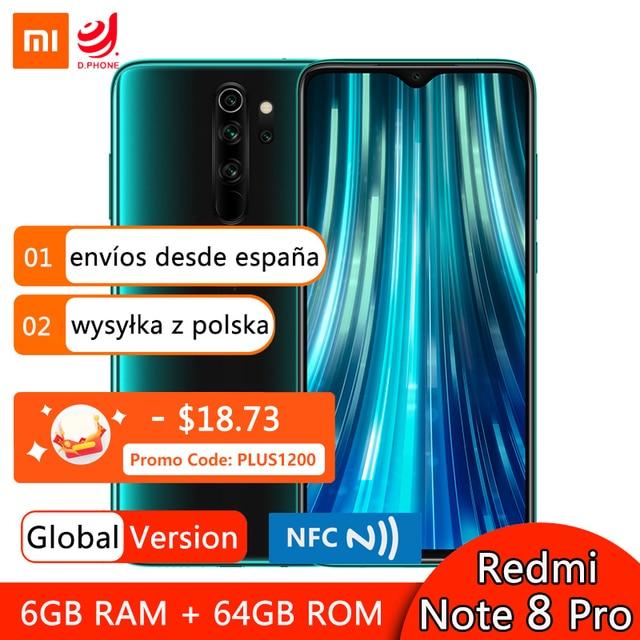 Xiaomi Smartphone Redmi Note 8 Pro, versión Global, 6GB y 64GB, Quad cámara de 64MP, MTK Helio G90T Octa Core, 4500mAh, NFC