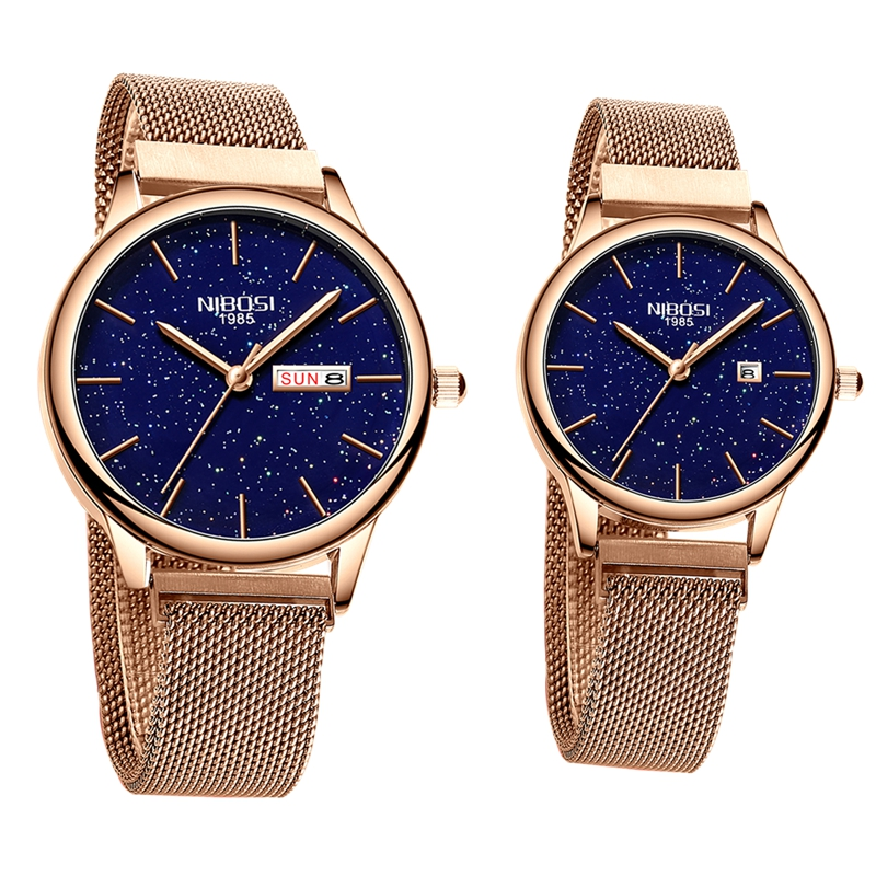 NIBOSI Couple Watch Waterproof Man And Woman Men Watches 2019 Luxury Brand Elegant Women's Watches Stainless Relogio Feminino