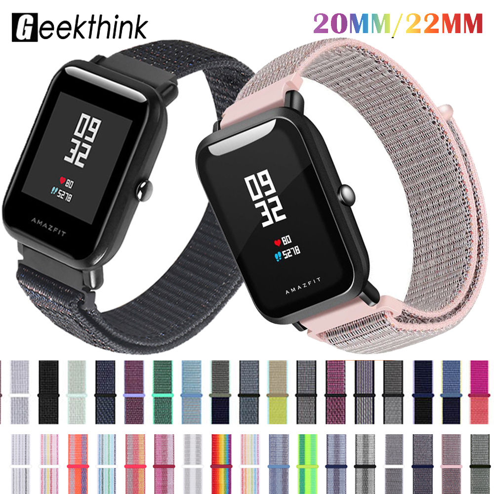Nylon Strap 20mm 22MM For Amazfit Bip Smart Wrist Strap Band Nylon Loop Watch For Galaxy Watch 46mm Gear S3 Watchband Brecelet
