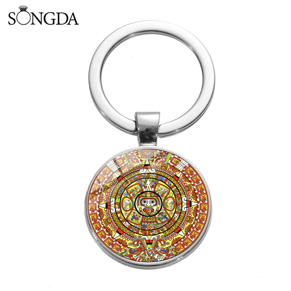 Ancient Mayan Calendar Keychain Aztec Long Count Calendar Glass Cabochon Art Pattern Collection Key Chain Vintage Jewelry