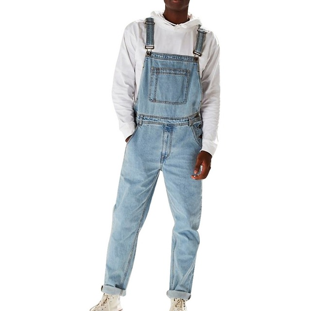 Richkeda Store New Bib Overalls For Man Suspender Pants Men's Jeans Jumpsuits High Street Distressed  Autumn Fashion Size S-3XL 1