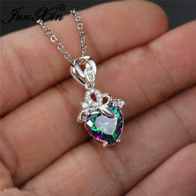 Cute Heart Mystic Rainbow Crystal Pendant Clavicle Necklaces For Women Rose Gold Silver Color Wedding Necklace Mother's Day Gift