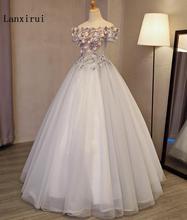 Lanxirui vestido de quinceañera gris con hombros descubiertos, vestido de baile hecho a mano de flores, vestidos hinchados para invierno