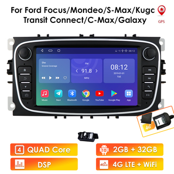 Android 10 GPS Navigation Car Radios 2 Din Car Multimedia Player 7'' Audio DVD Player for Ford/Focus/S-Max/Mondeo 9/GalaxyC-Max image