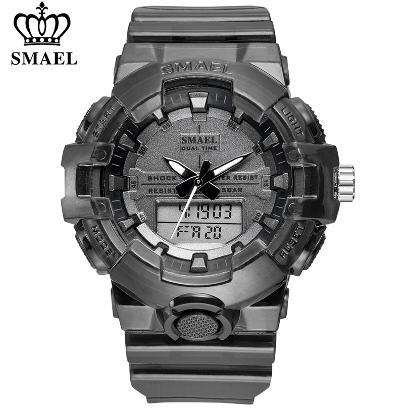 SMAEL Men Analog Quartz Digital Watch Waterproof Fashion Sports Watches Mens Quality Plastic Watchband LED Electronic Clock Male