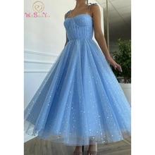 Prom-Dresses Evening-Gowns Sequined Sparkle Graduation Party Tea-Length Blue Bling Pleat