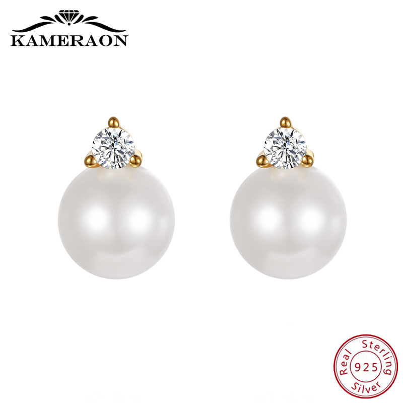 Freshwater Pearl Stud Earrings For Women Sterling Silver 925 Fine Jewelry Cute Korean Earrings Zirconia Rhinestone Antioxidation