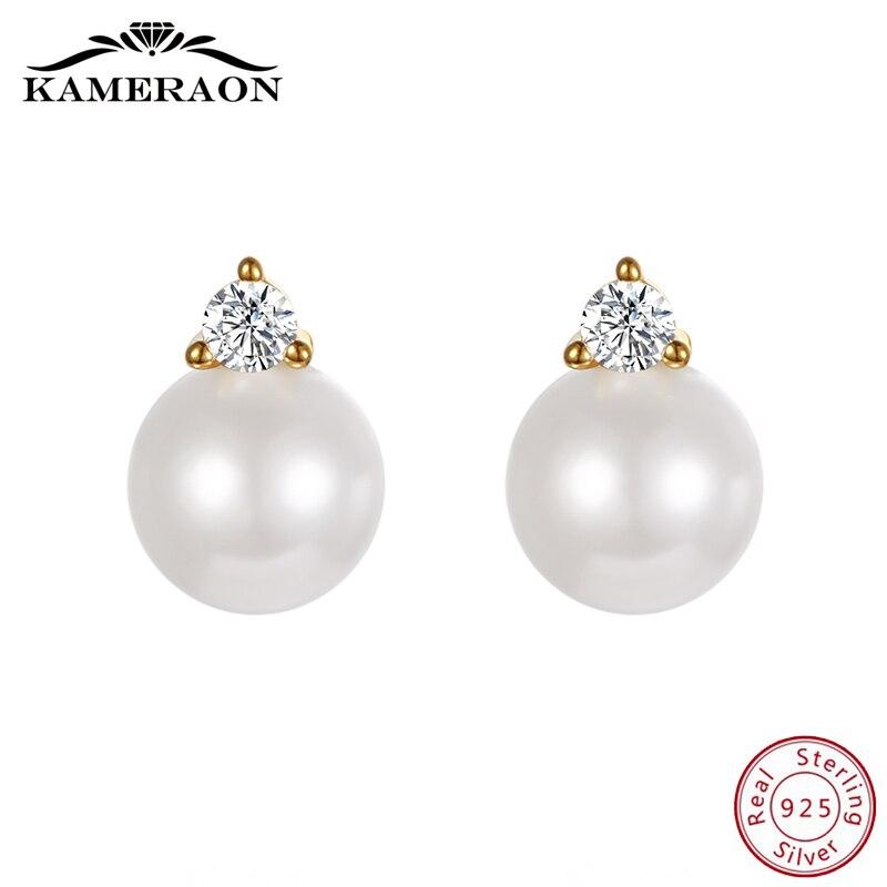 Freshwater Pearl Stud Earrings For Women Sterling Silver 925 Fine Jewelry Cute Korean Earrings Zirconia Rhinestone Antioxidation