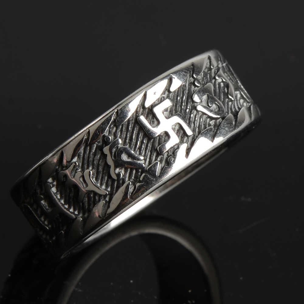 316L Acero inoxidable oro plata Mantra amuleto Spinner anillos para hombres Budismo Tibetano Swastika Om Mani Padme Hum no se desvanece