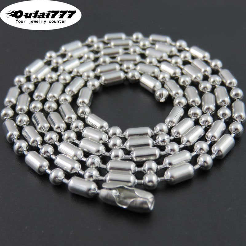 oulai777 2019 wholesale stainless steel Women necklace beads fashion jewelry Men necklace men womens long necklace punk couple
