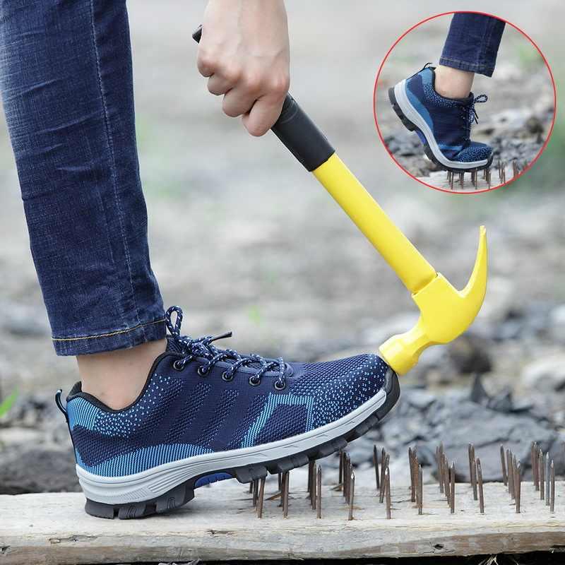 LOOZYKIT Ademende mannen Stalen Neus Werk Veiligheid Laarzen Mannen onverwoestbaar Schoenen Anti-slip Staal Punctie Proof Veiligheid schoenen