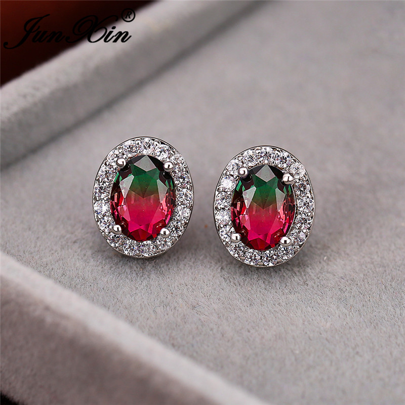 Gradient Two Tone Crystal Oval Earrings Silver Color Rainbow Fire Zircon Boho Red Green Pink Wedding Stud Earrings For Women