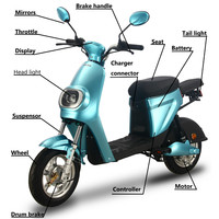 Electric Motorcycle 48V 350W 20AH Scooters High Power Removable Lithium Battery 25KM/H Electric Bicycle Moto Ebike Scooter 2