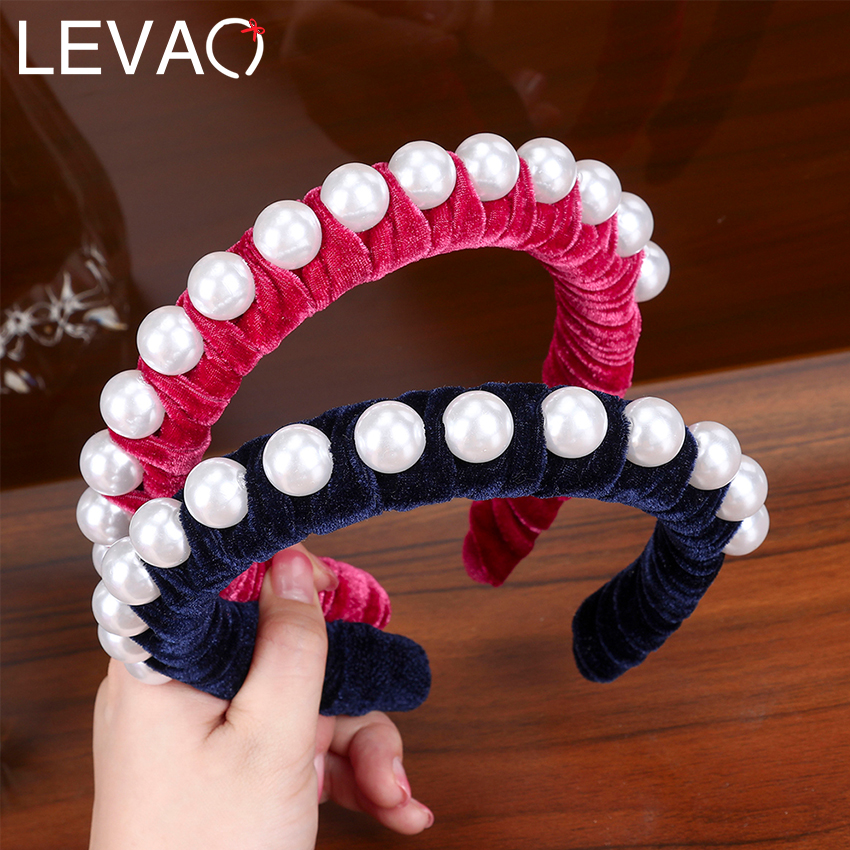 Levao Autumn Twist Headband Velvet Pearl Hairband for Women Hair Bands Accessories Elegant Cotton Hair Hoop Bezel Girls Headwear